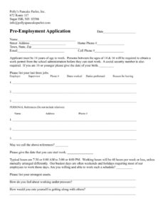 pre-application-form - Polly's Pancake Parlor on pre certification form, information request form, pre admission form sample, pre approval form,